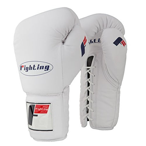 Fighting Sports Pro Lace-Up Training Gloves, White, 16 oz