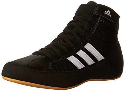 Adidas Wrestling HVC Youth Laced Wrestling Shoe (Toddler/Little Kid/Big Kid),Black/White/Gum,2 M US Little Kid