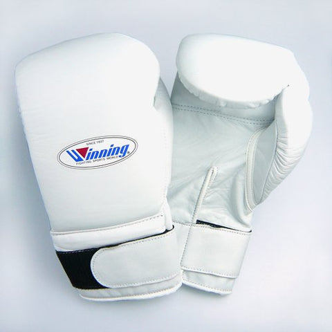 Winning Velcro Training Boxing Gloves 16oz (White)