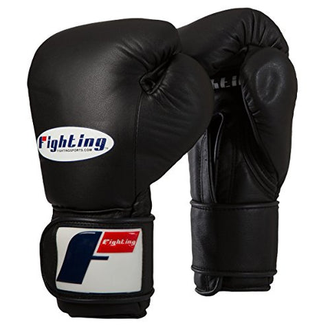 Fighting Sports Pro Training Gloves Hook-N-Loop, Black, 16 oz