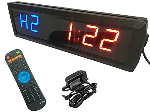 GANXIN 1.8'' High 6 Digits LED Countdown /up Clock for TABATA /FGB, GYM BOXING, EMOM, MMA Alternate Interval Timer, 12/24-Hour Real Time Clock, Stopwatch by Remote Control, Blue & Red Color