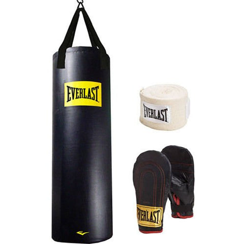 Everlast Heavy Bag Kit 100 lb Pound Punching Boxing Bag Gloves Hand Wraps NEW