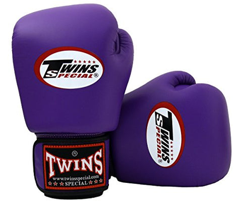 Twins Special Boxing Gloves BGVL3 Purple Size 8 10 12 14 16 oz Universal All Purposes Training Sparring Gloves for Muay Thai Kick Boxing MMA K1 Tight Fit Design with vectro straps (Purple, 16 oz)