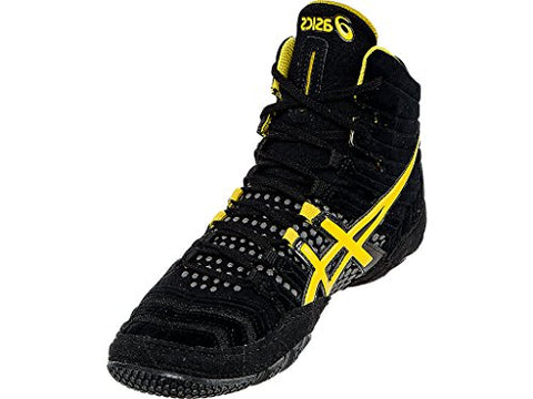 ASICS Men's Dan Gable Ultimate 4 Wrestling Shoe, Black/Yellow/Gunmetal, 10.5 M US