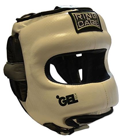 Deluxe Full Face GelTech Sparring Headgear Synthetic Leather for Boxing, Muay Thai, MMA, Kickboxing (Large (also fits X-Large size))