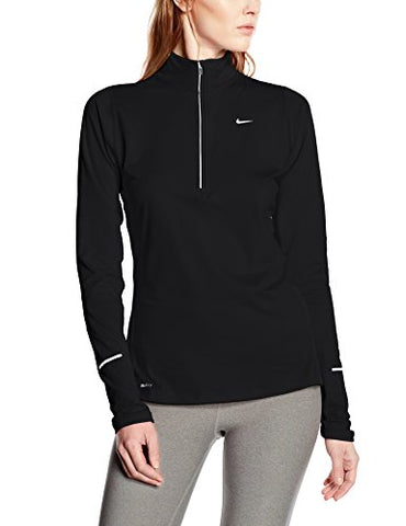 Women's Nike Element Half-Zip Running Top Black/Reflective Silver Size Large