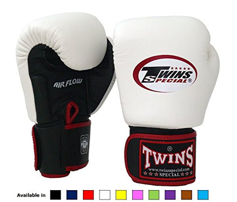 Twins Special Muay Thai Boxing gloves (Air Flow - Black/White with Black Strap, 10 oz)