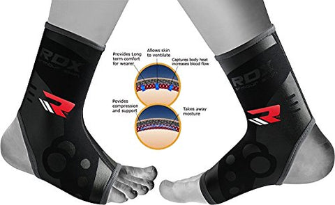 RDX Neoprene Ankle Brace Foot Guard Achilles Tendon Pain Support MMA Pad Protector (This is Sold as SINGLE ITEM)