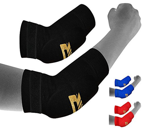 RDX MMA Elbow Support Brace Sleeve Pads Guard Bandage Elasticated Shield Protector,Black,Small