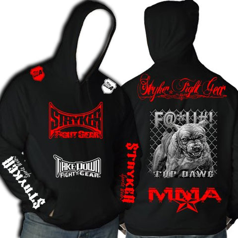 Stryker Fight Gear Black MMA Hoody Red White Logos Top Dawg Pit Bull Tapout MMA UFC (Large)