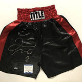 Autographed/Signed Floyd Mayweather Jr. Black/Red Title Boxing Trunks/Shorts Beckett BAS COA Auto