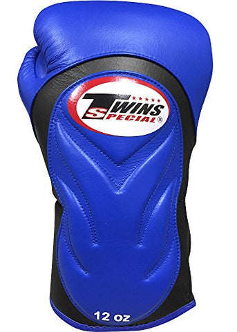 Twins Special Embossed Sparring Gloves (10oz, Blue/Black)