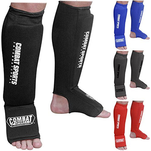 Combat Sports Washable Shin Guards Washable MMA Elastic Cloth Shin & Instep Padded Guards, Red, Medium