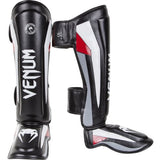 Venum Elite Standup Shinguards, Black/Red/Grey, Medium