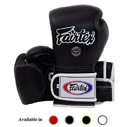 Fairtex Muay Thai Boxing Gloves BGV9 - Heavy Hitter Mexican Style - Minor Change Black with Yellow Piping 12 14 16 oz. Training & Sparring Gloves for Kick Boxing MMA K1 (Black w/White Piping, 16 oz)