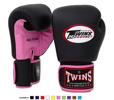 Twins Special Muay Thai Boxing Gloves BGVLA-2 Air Flow Gloves - 14 Oz. Pink/Black
