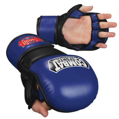 Combat Sports MMA Safety Sparring Gloves (Blue-Black, Large)