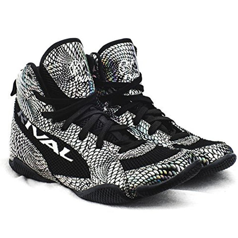 Rival Boxing- Youth Low Cut Boxing Boot (Silver Snake Skin & Black, 4)