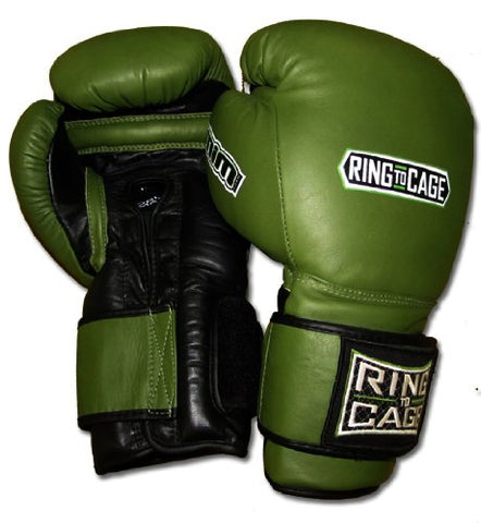 50oz Deluxe MiM-Foam Sparring Gloves - Safety Strap for Muay Thai, MMA, Kickboxing, Boxing (50oz) (Marine Green/Black)