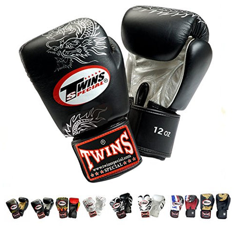 Twins Special Gloves Velcro Fancy FBGV Size 8, 10, 12, 14, 16 oz Color Black Gold Silver Dragon, Fire Flame, Tattoo used for Training and Sparring Muay Thai, Boxing, Kickboxing, MMA (Dragon Black/Silver 10 oz)