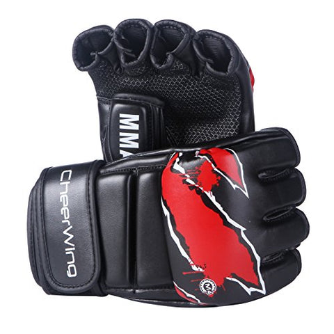 MMA Sparring Grappling Leather Training Gloves, Black