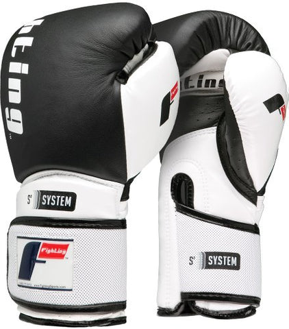 Fighting Sports S2 Gel Power Bag Gloves, Black/White, 16 oz