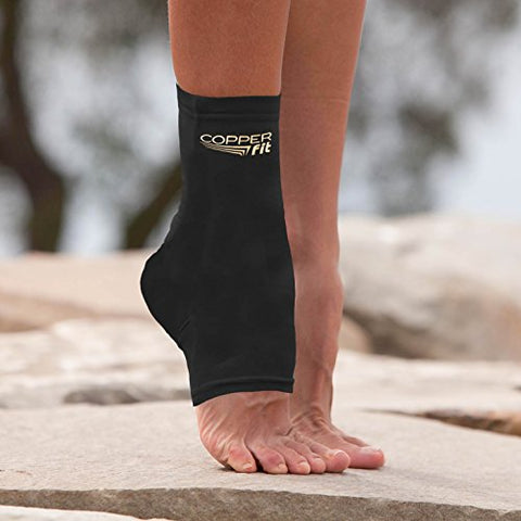 8291b51946 Copper Fit Original Recovery Ankle Sleeve, Black with Copper Trim, Large