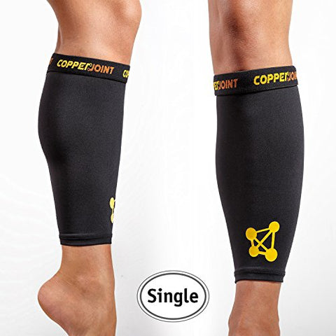 CopperJoint Calf Compression Sleeve, #1 Copper Infused Fit Support - GUARANTEED Recovery - Wear Anywhere - X-Large - Single