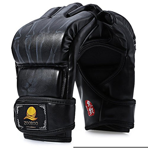 1 Pair PU Leather Half Finger Boxing Fighting Gloves Suitable for Sanda Sandbag