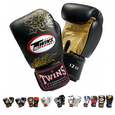 Twins Special Boxing Gloves (Dragon Black Gold) (12 ounce)