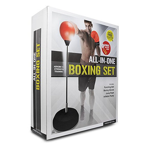Protocol All-In-One Boxing Set | Punching Ball with Adjustable Height Stand That Withstands Tough Beatings, Jump Rope to Increase Cardio and Agility, Comfortable Boxing Gloves, and Inflation Pump