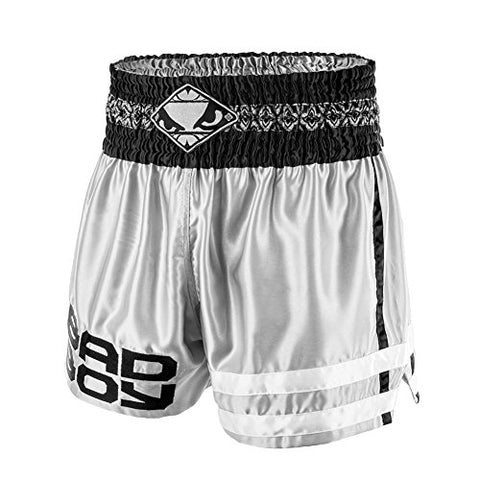 Bad Boy Men's Tii Sok Muay Thai Shorts, Grey/Charcoal/Black, Large/X-Large