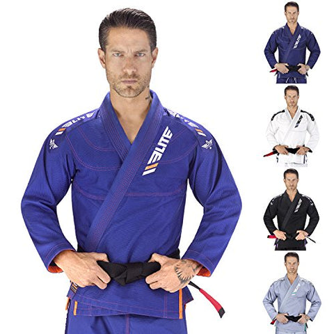 Elite Sports IBJJF Ultra Light Brazilian Jiu Jitsu Gi with Preshrink Fabric and Free Belt, Blue, A1