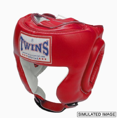 Twins Special Muay Thai Boxing Headgear Premium Leather w/Cheek HGL-2 Red X-Large