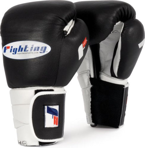 Fighting Sports Tri-Tech Hook-and-Loop Training Gloves, Black/White, 16 oz