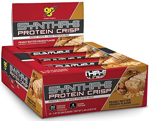 BSN Protein Crisp Bar by Syntha-6, Peanut Butter Crunch, 12 Count (Packaging may vary)