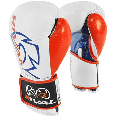 Rival Boxing RB7 Fitness+ Hook and Loop Bag Gloves - 6 oz. - White/Blue/Red