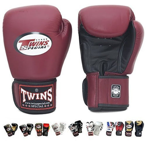 Twins Special Boxing Gloves Velcro (Black Maroon) (14 ounce)