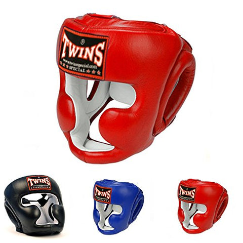 Twins Special Headgear Head Guard HGL-3 Color Black Blue Red Size S, M, L, XL for Protection in Muay Thai, Boxing, Kickboxing, MMA (Red,M)
