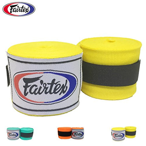 Fairtex HW2 Handwraps New Color Full-Length Elastic 100% Cotton - Length about 180 Inches (Yellow)
