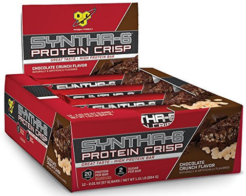 BSN Protein Crisp Bar by Syntha-6, Chocolate Crunch, 12 Count (Packaging may vary)