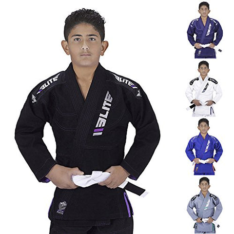 Elite Sports IBJJF Ultra Light BJJ Brazilian Jiu Jitsu Gi for Kids with Preshrunk Fabric and Free Belt, Black