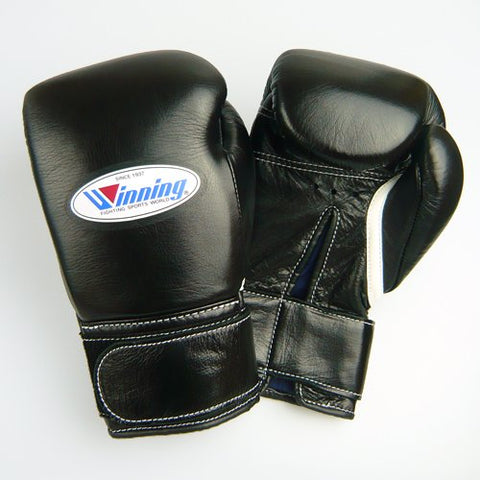 Winning Velcro Training Boxing Gloves 10oz (Black)