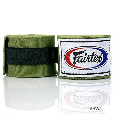 Fairtex HW2 Handwraps Full-Length Elastic 100% Cotton - Length about 180 Inches (Green Olive)