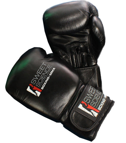 Sweet Science Boxing All Leather Bag Gloves - Black