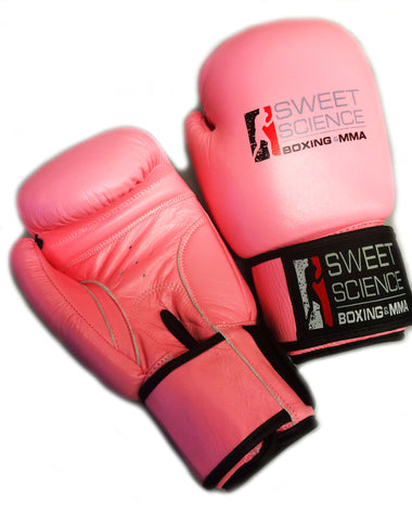 Sweet Science Women's Bag Gloves - All Leather - Pink - Sweet Science Boxing