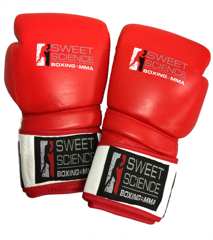 Sweet Science Hybrid Sparring/Training Glove - Red/White - Leather - Sweet Science Boxing