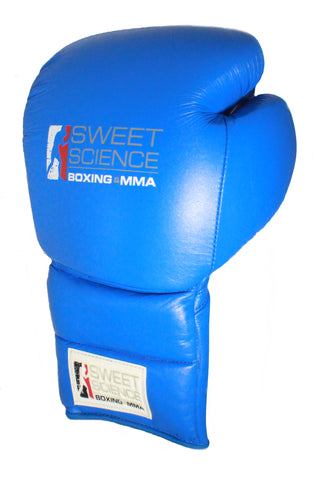 Sweet Science Boxing - 14oz Lace-up Sparring Gloves - All Leather Blue