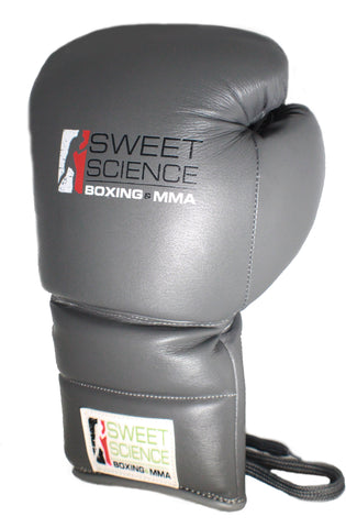 Sweet Science Boxing - 14oz Lace-up Sparring Gloves - All Leather Gray
