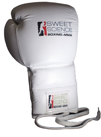 Sweet Science Boxing - 16oz Lace-up Sparring Gloves - All Leather White